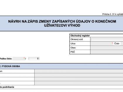 Povinnosť zapísať údaje o konečnom užívateľovi výhod do obchodného registra